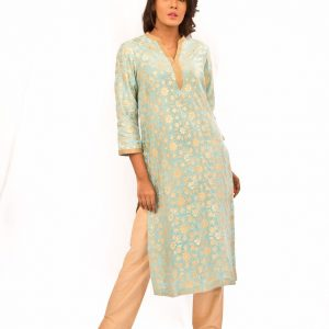 Aqua Blue Banarsi Kurta With Gold Pants