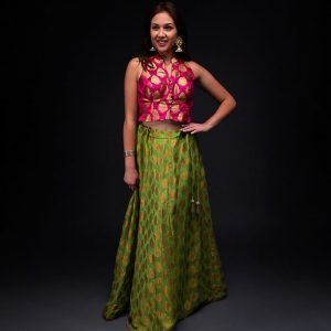 Banarsi Green Skirt with Pink Banarsi Top
