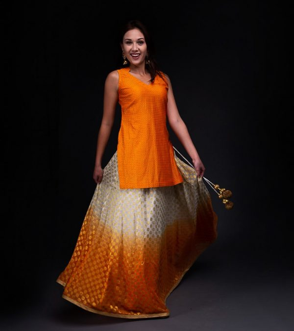 Banarsi Ombera Skirt with Short Chandari Tunic