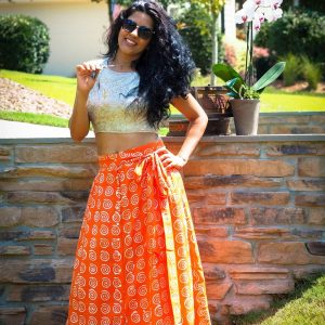 Batic print pure cotton long skirt