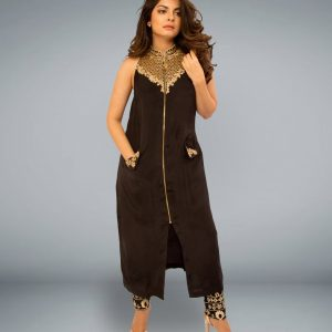 Black Crape Silk Kurta with Zardozi neck Embroidery and Cotton Lycra Pants with Embroidery