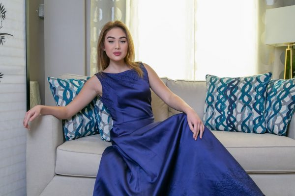 Blue Satin Gown with Black Thread Embroidery