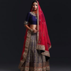 Bridal Purple Georgette Heavy Embroidery lehnga with zardozi embroidery blouse