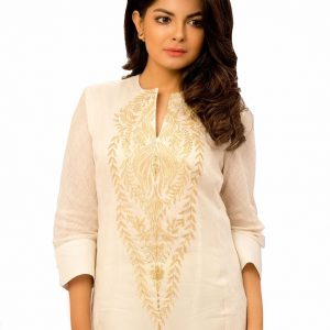 Chanderi Kurta With Detaling On Sleeve and Aplique In Front Combined with Cotton Chanderi Pants