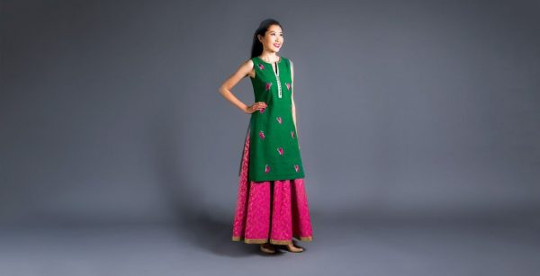 Chanderi Skirt With Cotton Butterfly Tunic