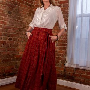 Cotton Skirt and Georgette embroidery shirt