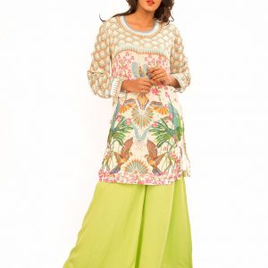 Crape Digital Print Kurta With Flair Pants