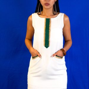 Crape Pencil dress with embroidery on neck