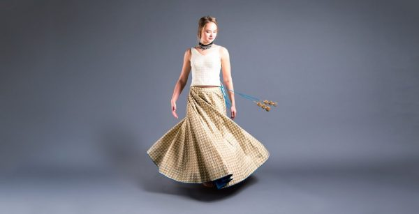 Gold Chanderi Skirt With Ivory Chanderi Top