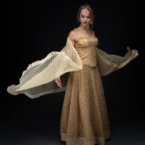 Gold Net Embroided Skirt with Banarsi Brocade Corcet and Net Dupatta