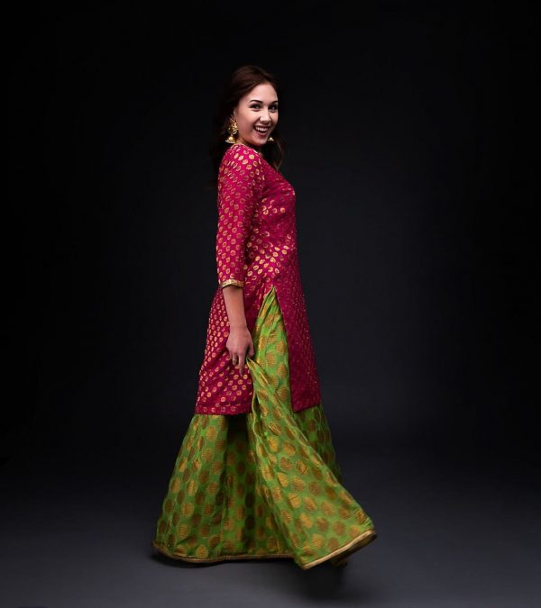 Green Banarsi Skirt With Hot Pink Banarsi Kurta