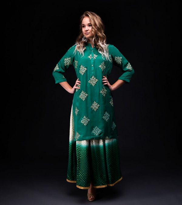 Green Ombera Skirt with Chiffon Gotapatti Kurta