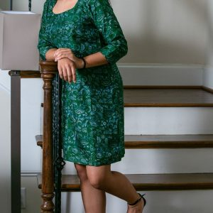 Green Silk Printed Dress