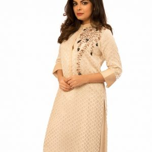 Ivory Chanderi Kurta with Embroidery On Side Combined with Pants