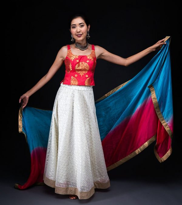 Ivory Chanderi Skirt With Banarsi Top