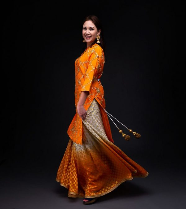 Orange Ombera Skirt With Orange Chiffon Gotta Patti Kurta