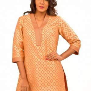 Peach Banarasi Kurta with Pants