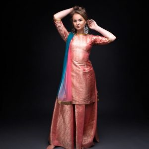 Peach Banarsi Skirt with Banarsi  Kurta