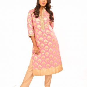 Pink Banarsi Kurta With Gold Pants