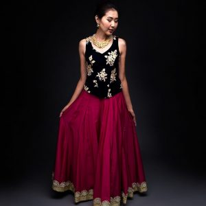 Pink Chanderi Skirt with Velvet Corcet