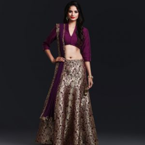 Purple Brocade Silk lenga skirt with silk blouse