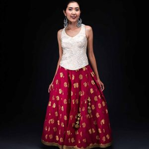 Red Banarsi Skirt with Ivory Banarsi Corcet