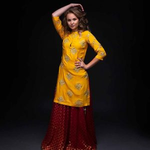 Red Banarsi Skirt with Yellow Gotta Patti Kurta