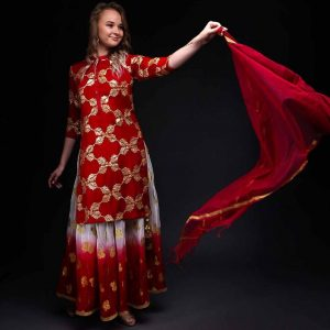 Red Ombera Skirt with Red Chiffon Gotta Patti Kurta