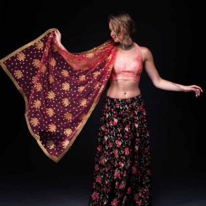 Velvet Embroidery Skirt With Banarsi Halter Blouse