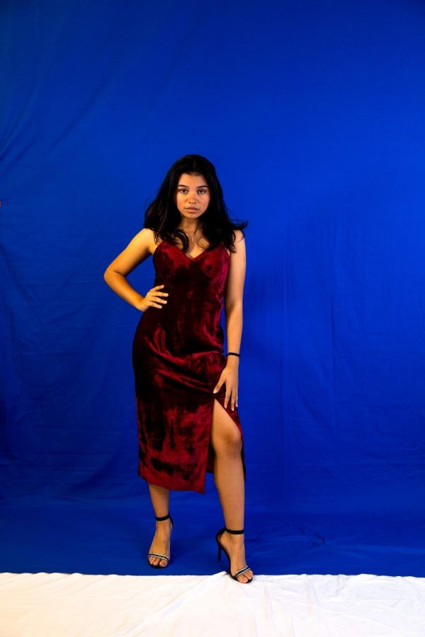 Wine Velvet Dress with Strap and Slit