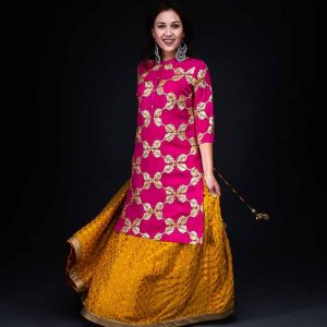 Yellow Banarsi Skirt With Chiffon Gotta patti Kurta